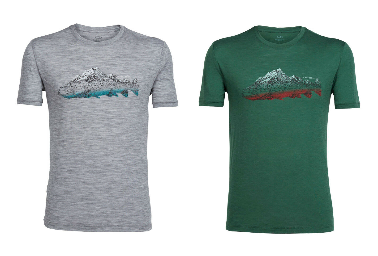ICEBREAKER - Tech Lite Short Sleeve Crewe Fin Peaks Peaks Peaks - 150g/m² - Herrenshirt 940f83