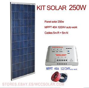 kit solaire 250w 12v y 24v com mppt panneau photovolta que. Black Bedroom Furniture Sets. Home Design Ideas