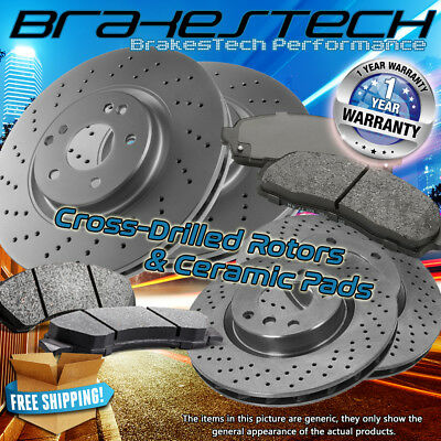 For 2010 Audi S4 2008-2011 S5 Front+Rear Drill Slot Brake Rotors Ceramic Pads