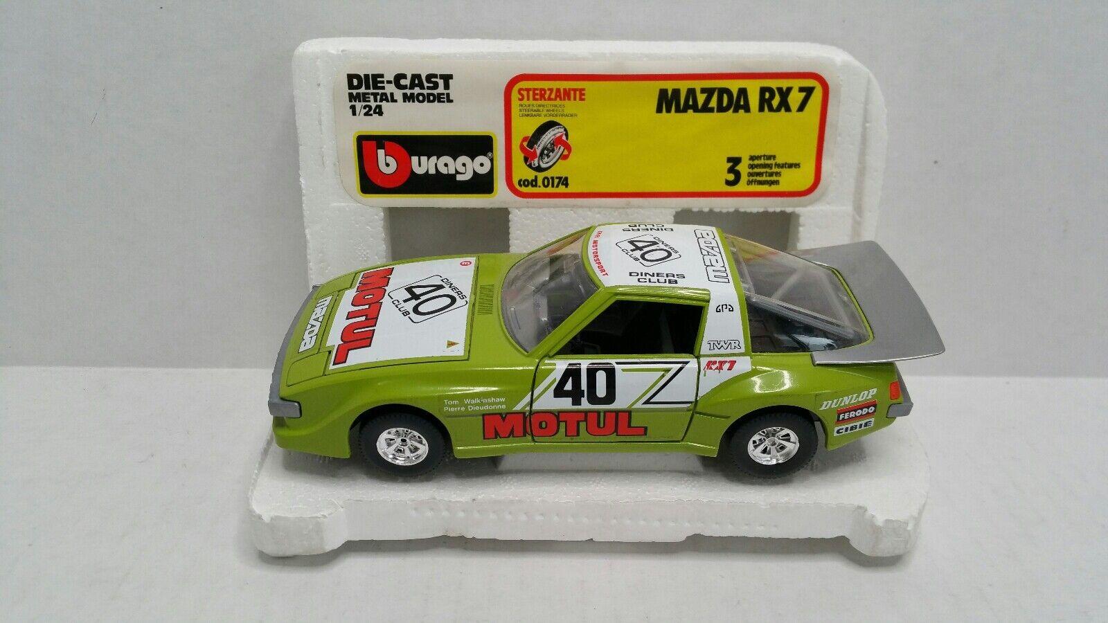 grande sconto Burago Mazda RX7 Motul    40 Race auto verde 1 24  gree Rare  incredibili sconti