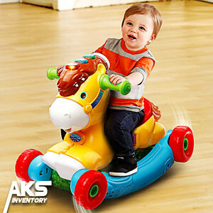 Hop in the saddle and go for a ride on the Gallop & Rock Learning Pony™ by VTech®. This interactive 2-in-1 pony grows with your child and quickly transforms from a rocking horse to a ride-on toy.