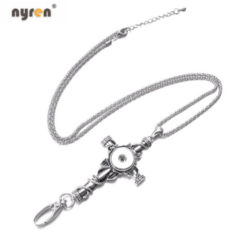 Multi ID Holder Lanyard Snap Pendant Necklace Fit 18mm Snap Button Snap Jewelry