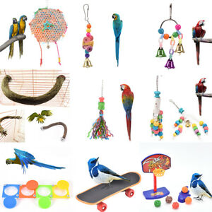 bird-parrot-cage-hanging-swing-chew-toys-cockatiel-budgie-wooden-stand-perches