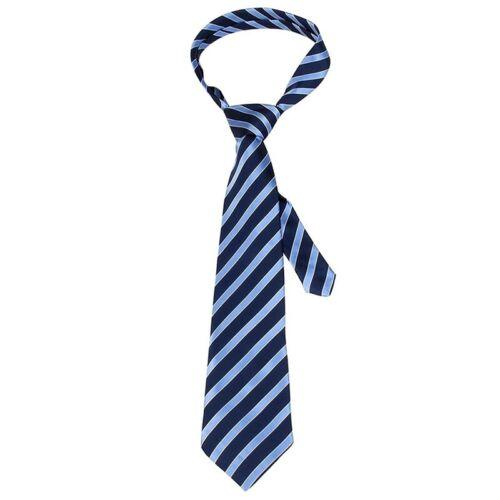 Herren Weiss Blau Schraeg Gestreift Verstellbar Halsbekleidung Krawatte H7G G3H7