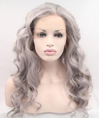 Gray Wigs Best Lace Front Wigs Gray Long Wavy Synthetic Wigs Heat Resistant Wigs