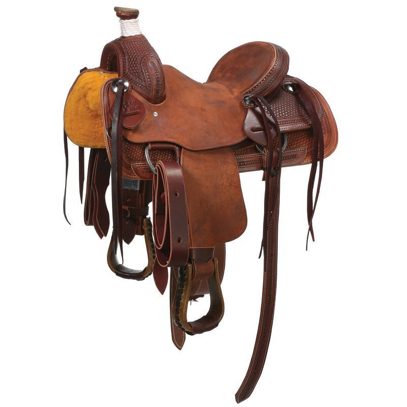 Western Marroneee Oil Treated leather Hand Tooled Roper Ranch Saddle 15  2