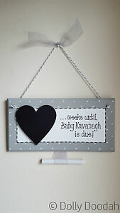 Grey-New-Baby-Pregnancy-Countdown-Plaque-Chalkboard-Maternity-Shower-Sign-Gift