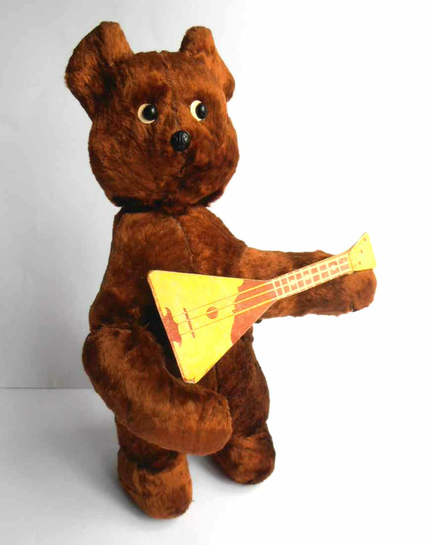 1960s USSR Russian Soviet MECHANICAL Toy Doll TEDDY BEAR w Balalaika w Key