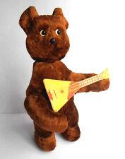 1960s USSR Russian Soviet MECHANICAL Toy Doll TEDDY BEAR w/Balalaika w/Key