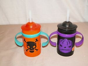 new halloween childs pumpkin or skull puzzle sippy