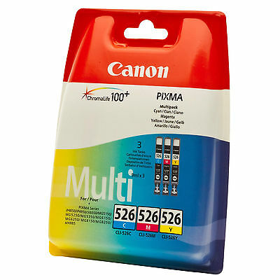 GENUINE OEM CANON 3 COLOUR INK CARTRIDGE VALUE PACK CLI-526 CYAN MAGENTA YELLOW