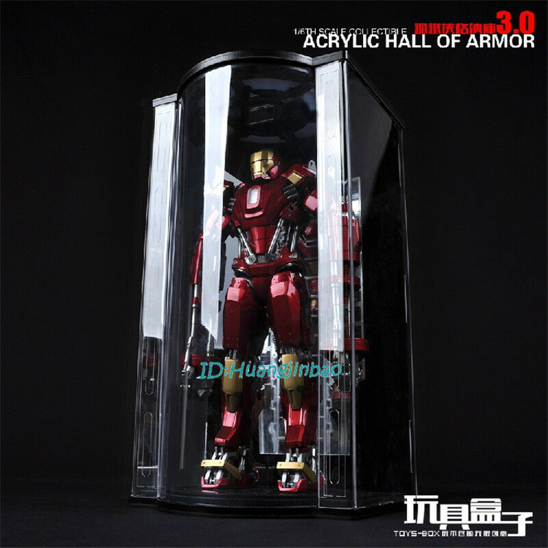 Acrylc Hall of Armor hangar Fit For 1 6 Scale Iron Man Carrossage antipoussière Box Case