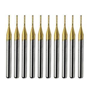 10pcs Titanium Coat Carbide 1.5mm End Mill Engraving Bits CNC Rotary