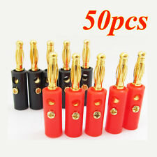 Lot 50Pcs 4mm Gold Plated Audio Speaker Wire Cable Screw Banana Plug Connector