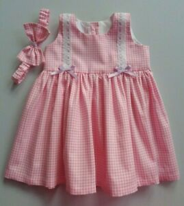 130c37aea Baby Girl Dress + Headband Pink Gingham Check baby gift *Dispatch ...