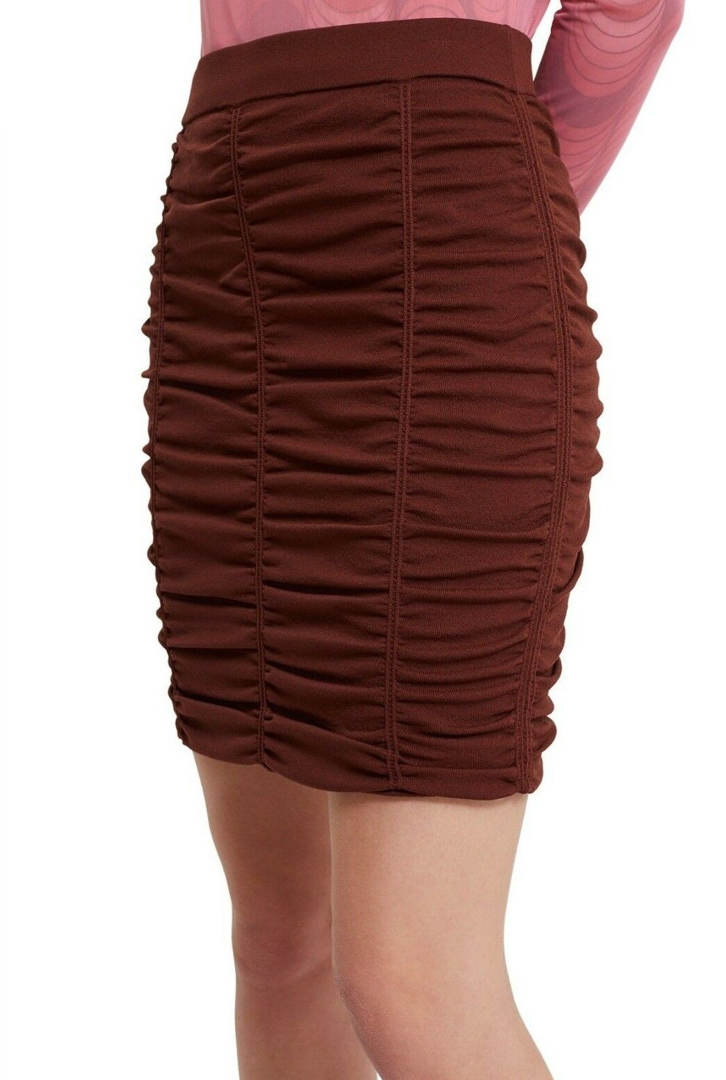 OPENING CEREMONY Maroon Fitted Stretch Ruche Skirt - M VGC