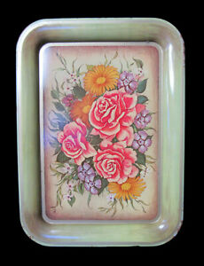 Vintage Mid Century Serving Tray Metal Green Roses Floral TV Lap - 7 Available