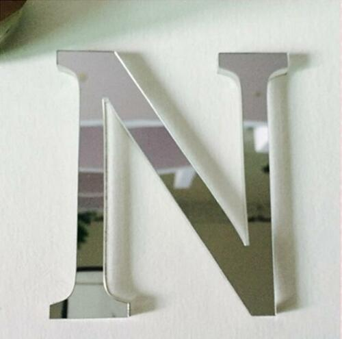 3D Mirror Wall Sticker 26 Letters DIY Art Mural Home Decor Acrylic Decals Silver