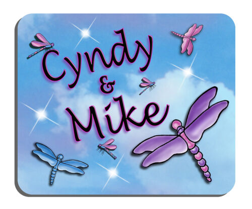 Dragonflies Purple Pink Blue Mouse Pad Personalize Gifts Any Text In Any Color