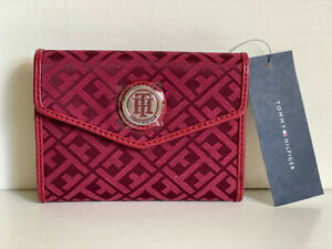 NEW-TOMMY-HILFIGER-RED-MEDIUM-FRENCH-CLUTCH-WALLET-35-SALE