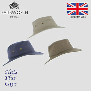 04ac2cb0077 Image is loading Failsworth-Cotton-Traveller-Sun-Safari-Packable-Hat-UV-