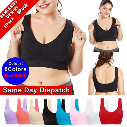 Details about  /Women Seamless High-elastic Sports Leisure Bra Underwear Plus Size S-6XL