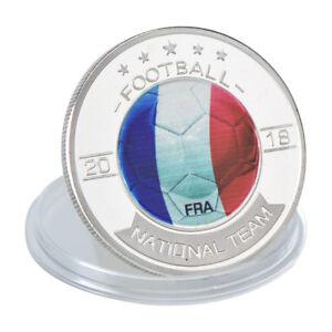 WR-2018-Russie-Coupe-du-Monde-France-Argent-Commemoratif-Coin-Fans-Souvenir