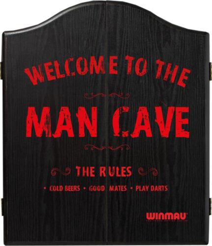 Winmau Man Cave Black Veneer-Effect Dartboard Cabinet ***New