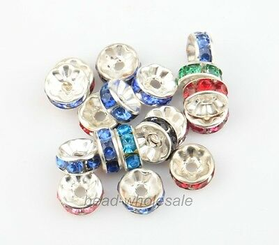 30Pcs Various Colors Acrylic Crystal Rhinestone Rondelle Spacer DIY Beads 8mm