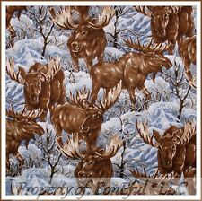 BonEful Fabric FQ Cotton Quilt Winter Snow Scenic Cabin Woodland Moose Xmas Tree