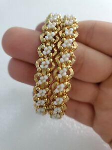 Set-Of-2-Gold-Tone-Daisy-Fashion-Bracelets-Bangles-White-Beads