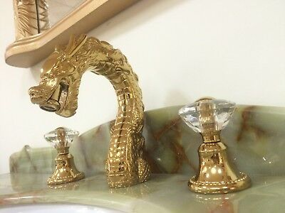 "Gold 3 Holes 8"" widespread bathroom dragon lav basin sink Faucet Crystal handles"