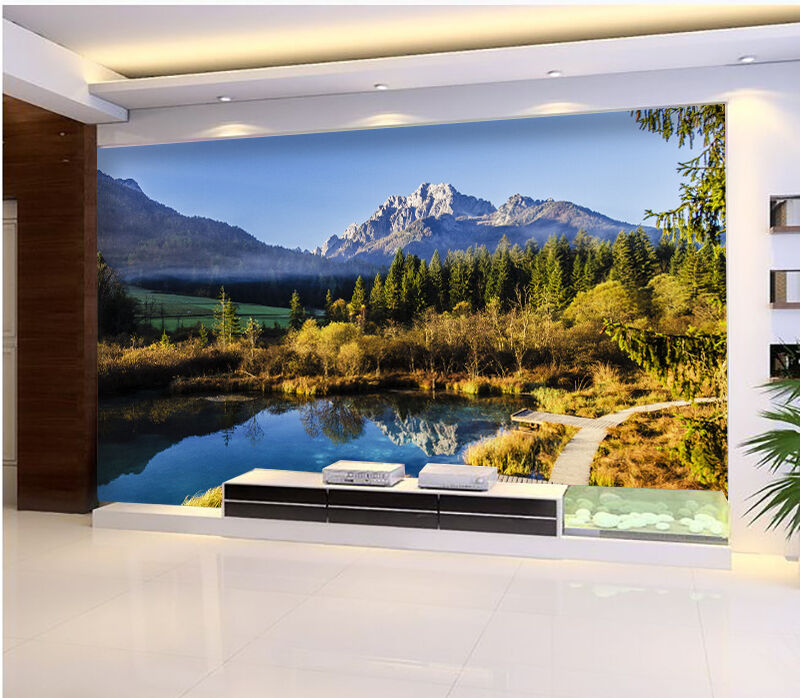 3D lake Suburb nature Wall Paper Print Decal Wall Deco Indoor wall Mural