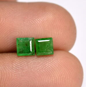 0-91-Cts-Certified-Natural-Emerald-Square-Cut-Pair-4-50-mm-Deep-Green-Gemstones