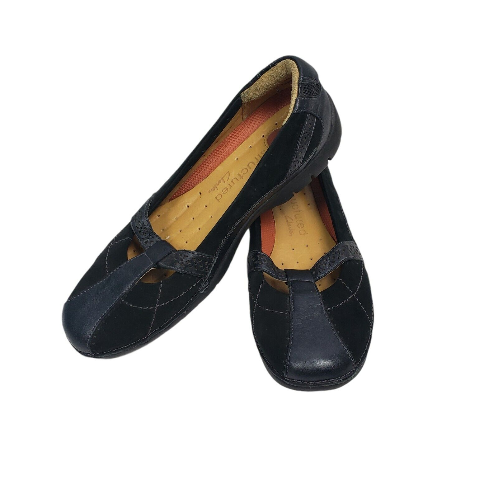 Clarks Unstructured Slip On Loafers Womens Size 5.5 M Black Leather Shoes
