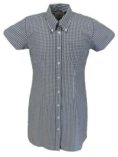 Relco Ladies Black Gingham Retro Shirt Dress