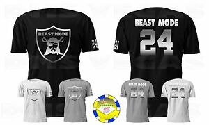 pretty nice 4be65 78bfc Details about Oakland Raiders Marshawn Lynch Beast Mode METALLIC Jersey Tee  T Shirt Men S-5XL