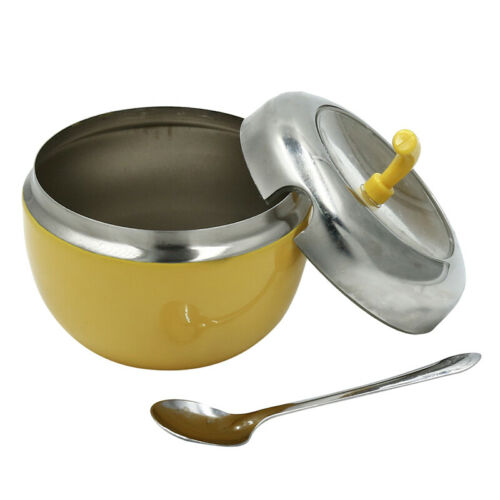 Stainless Steel Seasoning Pot Jar With Spoon Set Practical Kitchen Accessories D