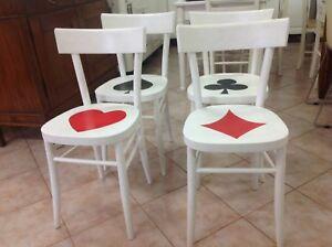 Sedie Laccate Bianche E Dipinte A Mano Ebay