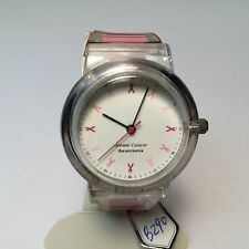 Vintage Pink Ribon Breast Cancer Awareness Analog Quartz Watch Hours~New Battery