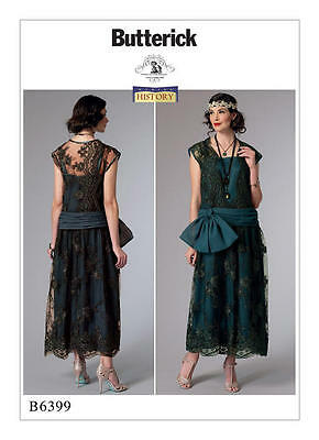 B6399 Sewing Pattern 1920 Flapper Drop-Waist Dress Gown Bow Historic Patron NEW!