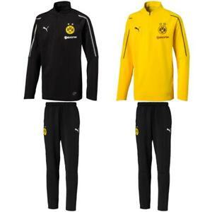 Puma-BVB-Borussia-Dortmund-Kinder-Trainingsanzug-1-4-Zip-Top-Hose-2018-19