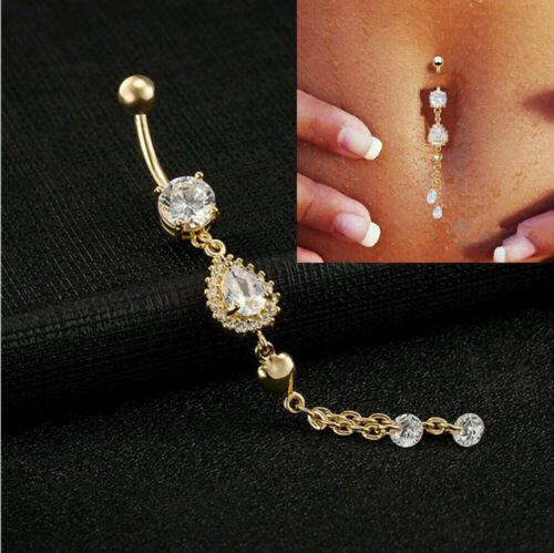 1X Rhinestone Body Piercing Dangle Crystal Navel Belly Button Bar Barbell Ring