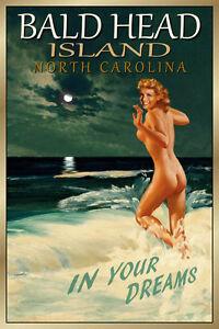 BALD HEAD ISLAND N Carolina Original Travel Poster Marilyn Pin Up Art Print 172
