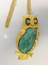 Vintage Retro Huge Owl Bird Gold Tone Lucite Pendant Chain Necklace Pin Brooch