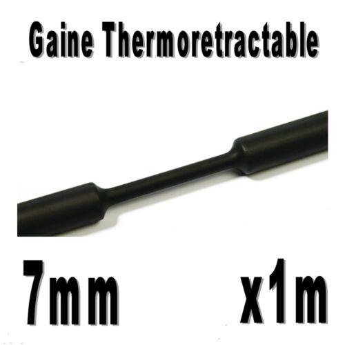 Gaine Thermo Rétractable 2:1 1m Noir 7 mm Diam