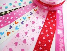 14 yards Valentine's Day Grosgrain/Satin Print Ribbon/Love/Scrap/Mix Lot R-Heart