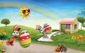 3D Sun Cartoon Rabbit 73 Wallpaper Mural Paper Wall Print Wallpaper Murals UK