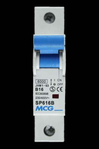 MCG 16 Amp TYPE B 6kA MCB Disjoncteur JVM1-63 SP616B