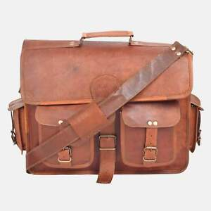 Distressed-Rare-Brown-Leather-Vintage-Laptop-Messenger-Shoulder-Briefcase-Bag